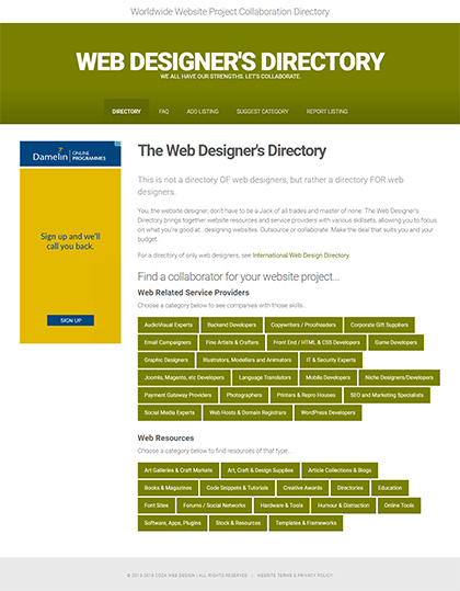 Coza web design company web resources for Designer directory